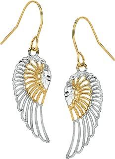 10k 2 Tone Yellow And White Gold Diamond Cut Angel Wings Drop Earrings