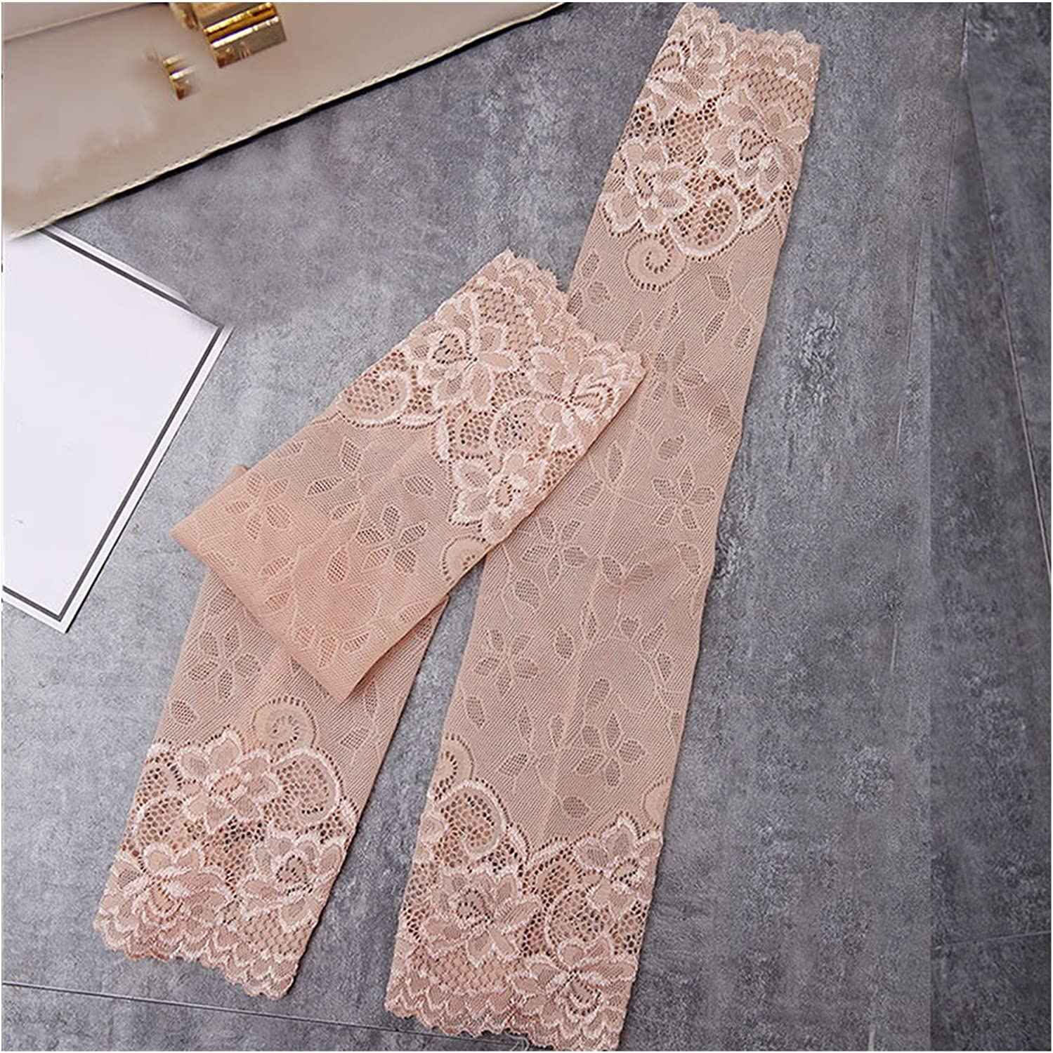 Rjjrr Summer Women Sexy Lace Gloves Sunscreen Long Lace Fingerless Mittens Covered Elastic Sleeve (Color : 2)