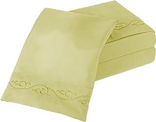 Lavish Home Bordado Hojas de Microfibra cepillada Juego, Salvia, Matrimonio