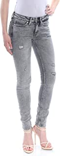 CALVIN KLEIN Womens Gray Pocketed Distressed Skinny Jeans US Size: 24