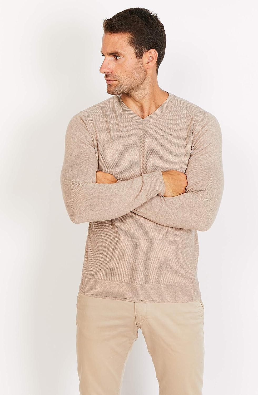 Pull col en V Jacquard pour Homme 100/% Coton Jack Stuart