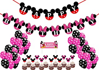 56 Pcs Mickey Minnie Mouse Party Set for Boys and Girls Birthday Party Supplies - 4 Categories, Including Birthday Banner, Cake Topper, Cupcake Toppers and Balloons Party Decorations.