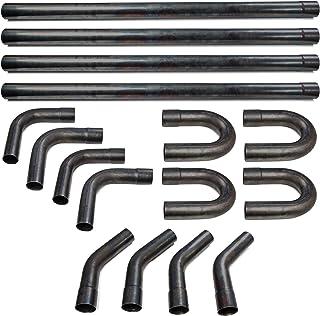 "Krator 2.5"" Mild Steel DIY Custom Mandrel Exhaust Pipe Straight & Bend Kit - 48"" Straight, 90 Degree, 45 Degree, 180 Degree U-Bends Pipes"