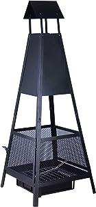 Kamino-Flam Brasero d'Extérieur en Forme de Pyramide Despina, Cheminée de Jardin Terrasse Balcon en Acier Noir, Foyer Extérieur avec Pare-Étincelles et Bac à Cendres 49 x 49 x 131 cm