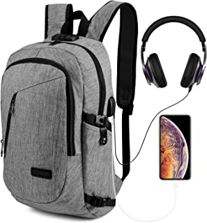 AmazingBag Laptop Backpack, Anti Theft Backpacks Waterproof Travel Bag with USB Charging Port & Headphone Interface for Men Women Students,Fits 15.6 Inch Laptop & Notebook (Grey)