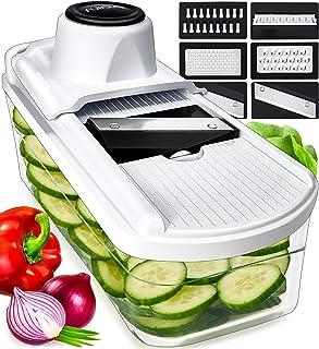 6 in 1 Mandoline de Cuisine avec Récipient en Verre - Multifonction Coupe Legume Mandoline Cuisine pour Légumes Fruits Fro...