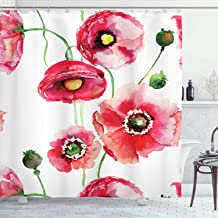 Ambesonne Watercolor Flower Decor Collection, Stylized Poppy Flowers Buds Watercolor Painting Effect, Polyester Fabric Bathroom Shower Curtain Set with Hooks, 75 Inches Long, Dark Pink White