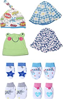 new born baby boy and girls caps and mittens booties bibs(6 pcs) combo set in latest designs and stylish patterns made of ...