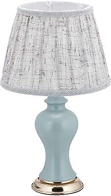 relaxdays 10036768 Lampe de Table dans Design Retro, HxD 51 x 30 cm, Douille E27, Socle, Abat-Jour, Gris Bleu