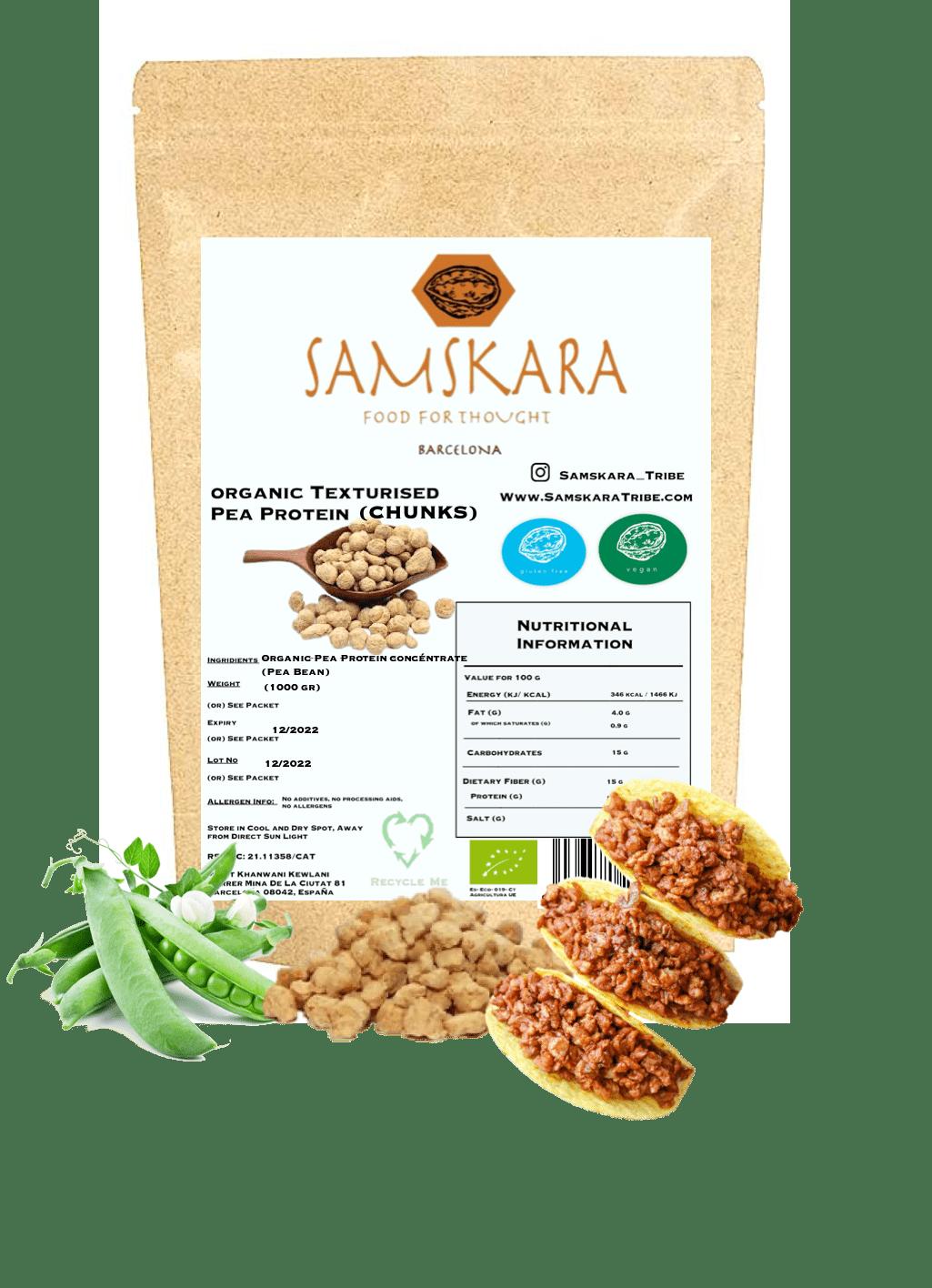 Proteína de Guisante granulada Texturizada | de cultivo Ecológico BIO | 100% Natural | carne vegetal vegano sin gluten sin soja (500)