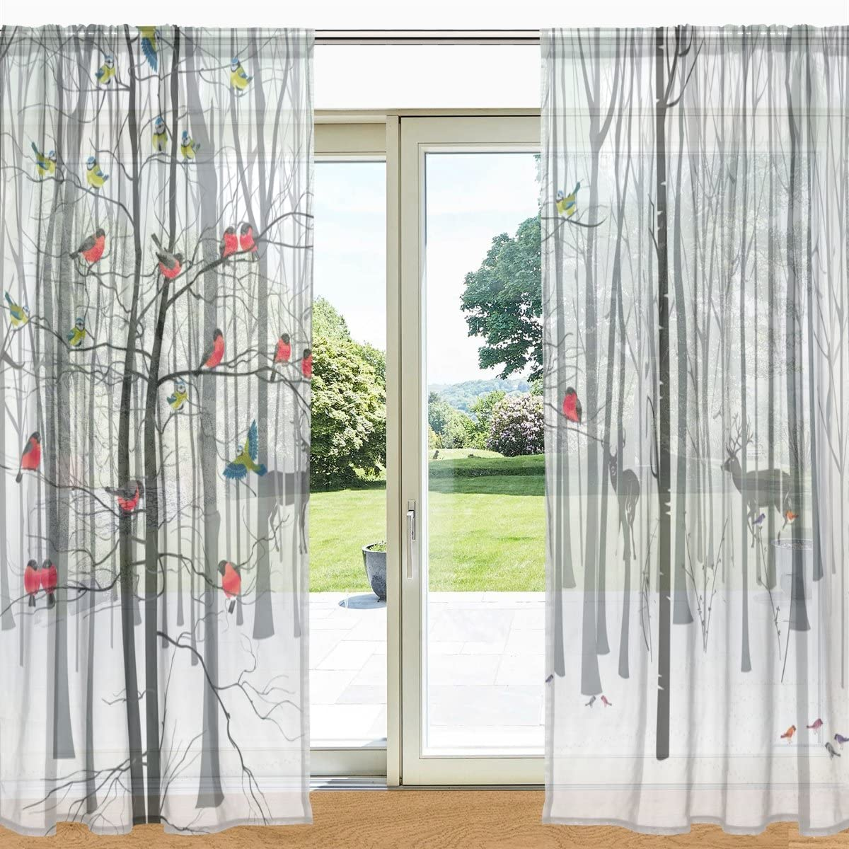 Amazon Com Alaza My Daily Winter Tree And Cardinal Bird Deer Printed Sheer Window And Door Curtain 2 Panels 55 X 78 Rod Pocket Panels For Living Room Bedroom Decor Home Kitchen