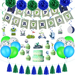 Golf Birthday Party Supplies Decoration Kits Include Happy Birthday Banner, Paper Garlands Golf Themed Cake Toppers, Confe...