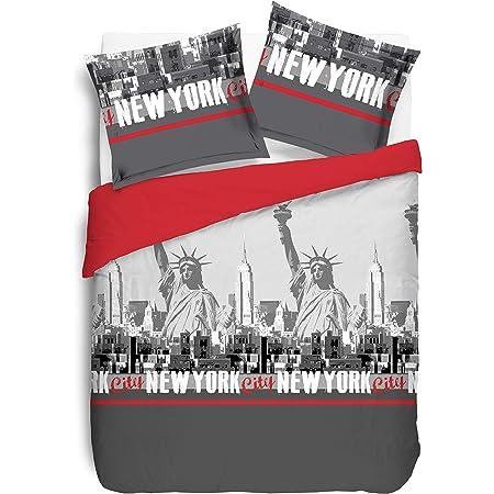 VISION New York Rouge Housse de couette et 2 Taies assortis, Coton, Gris, 240x220cm