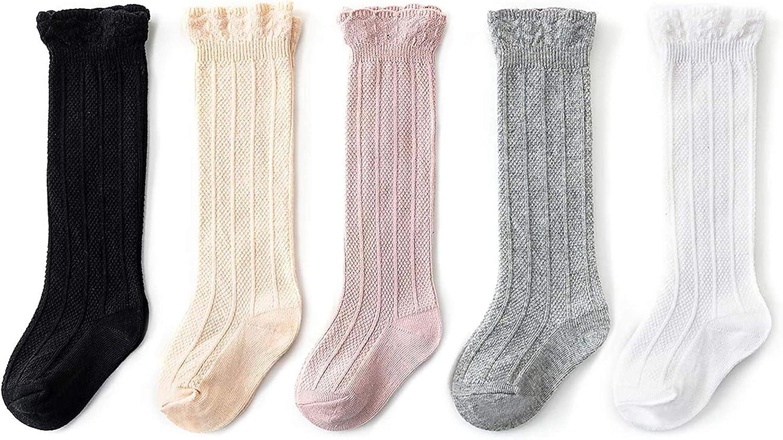 Durio Baby Knee High Socks for Baby Girls and Boys Toddler Girls Socks Seamless Knee Socks Girls