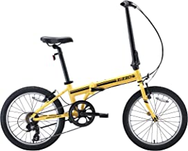 EuroMini ZiZZO Campo 28lb Lightweight Aluminum Frame Shimano 7-Speed Folding Bike 20-Inch