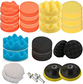 OxoxO 4//100mm Polishing Buffing Pad Auto Car Drill Polisher Buffer Sponge Pads Set M10 Drill Adapter with Shank Set of 16