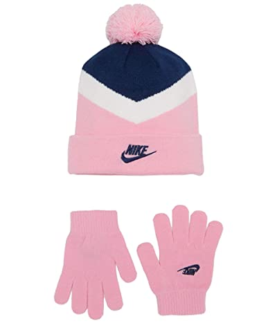 Nike Kids Pom Beanie and Gloves Two-Piece Set (Big Kids) (Blue Void) Snowboard Gloves