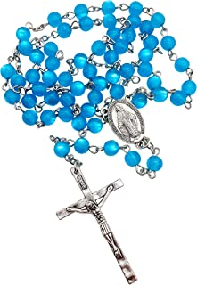 Nazareth Store Light Blue Rosary Crystal Cat Eye Beads Catholic Necklace Miraculous Medal and Cross - Safety Velvet Bag