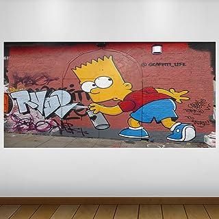 LagunaProject Extra Grande Amarillo Graffiti Bart Simpson Cultura Vinilo Póster - Mural Decoración - Etiqueta de la Pared -140cm x 70cm