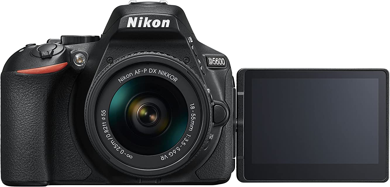 Nikon D5600 - Cámara réflex de 24 MP (DX CMOS Visor óptico Montura Tipo F SnapBridge D-Movie y Vídeo Time-Lapse) - Kit con Objetivo AF-P VR 18-55 Estuche y Libro - Versión Nikonistas