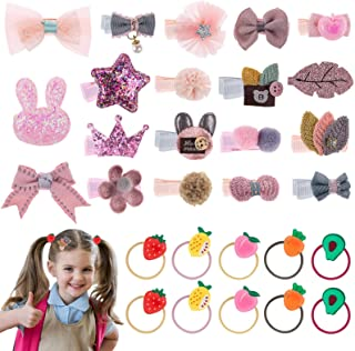 29 Pieces Baby Hair Clips, Gingbiss Cute Animal Fruit Bows Flower Pattern Elastic Makeup Hair Accessories For Baby Girls T...