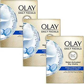 Olay Daily Facial Cleansing Cloths for a Deeply Purifying Clean, Makeup Remover, 33 Count (Pack of 3)