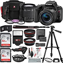 Canon EOS Rebel SL2 DSLR Wi-Fi Camera with EF-S 18-55mm STM Lens (Black) Bundle w/Flash + Lenses + Filters + 32&16GB + Xpix Tripods & Cleaning Kit