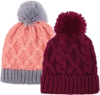 Kids and Toddlers' Chunky Cable Knit Beanie with Yarn Pompom - Set of 2