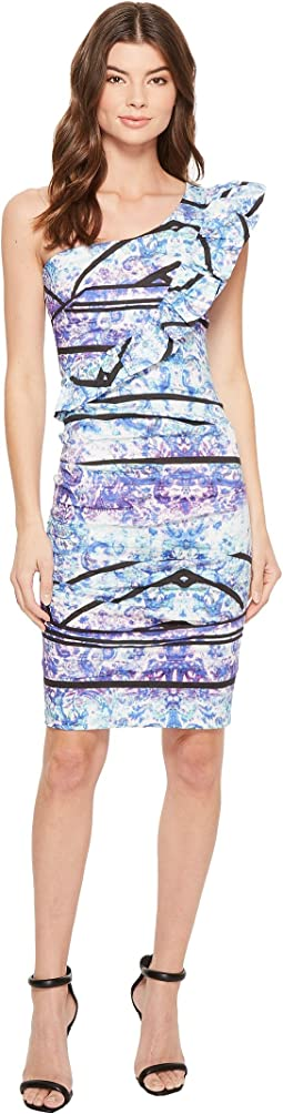 Nicole Miller Stamped Paisleys One-Shoulder Dress