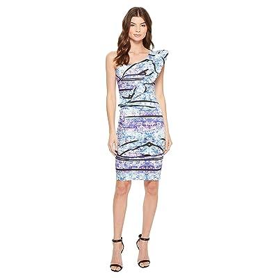 Nicole Miller Stamped Paisleys One-Shoulder Dress (Blue Multi) Women