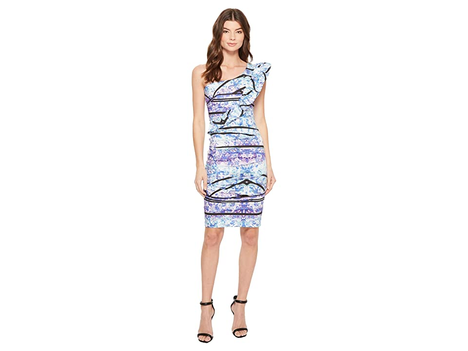 Nicole Miller Stamped Paisleys One-Shoulder Dress (Blue Multi) Women