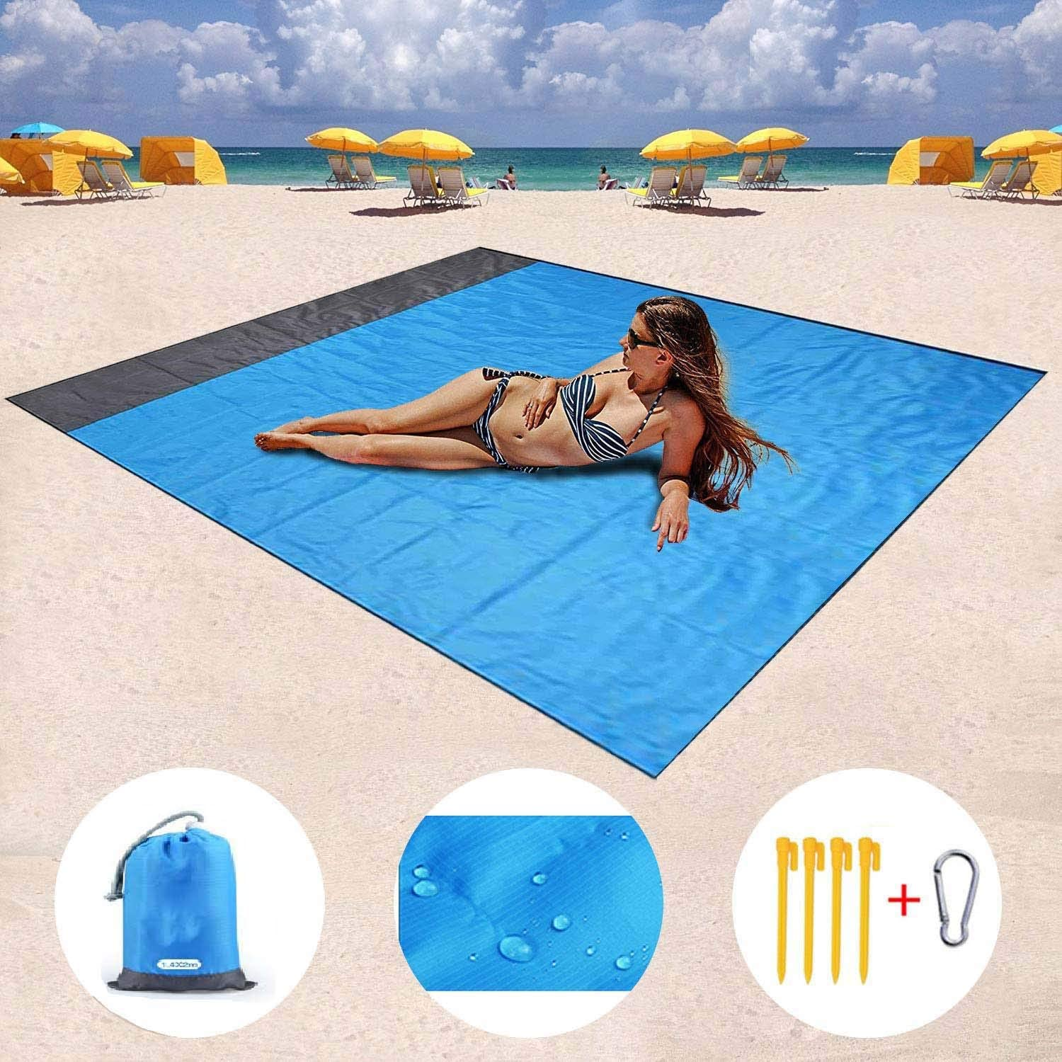 Beach Blanket,Compact Outdoor Sand Proof Beach Mat for Travel, Camping, Hiking and Music Festivals