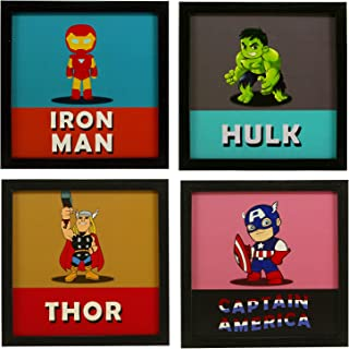 INDIANARA 4 Piece Set of Framed Wall Hanging Kids Room Decor Iron Man Hulk Thor Captain America Art Prints 8.7 INCH X 8.7 ...