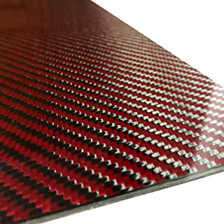 (2) Red Carbon Fiber Plate - 200mm x 300mm x 2mm Thick - 100% -3K Tow, Plain Weave -High Gloss Surface