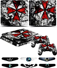 PS4 Slim Skins - Decals for PS4 Controller Playstation 4 Slim - Stickers Cover for PS4 Slim Controller Sony Playstation Four Slim Accessories with Dualshock 4 Two Controllers Skin - Resident Evil