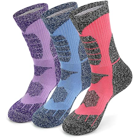 KOOOGEAR 3 Pairs Women Walking Hiking Socks, Anti Blister, Terry Cushion, Breathable, Warm, Moisture Wicking Ladies Trainer Socks, Arch Support for Outdoor Sports Running Cycling Climbing Golf Gym