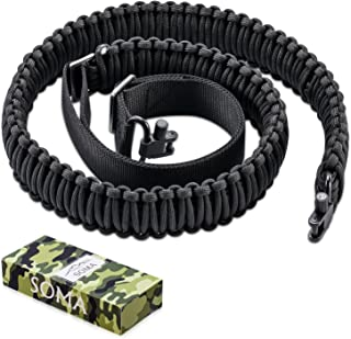 Soma Gun Sling Paracord Rifle Sling 550lb 2 Point Adjustable Strap for Tactical Rifle or Shotgun with Swivels