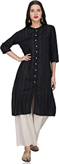 METRO-FASHION Womens Straight Striped Kurta(Black,XX-Large)