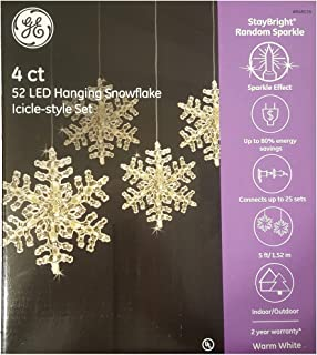 GE StayBright 52-Count Sparkling White Snowflake LED Plug-In Christmas Icicle Lights