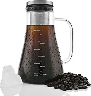 Cold Brew Coffee Maker- Premium Build 2.5mm thick Brewing Glass Carafe with Removable Stainless Steel Filter and Airtight Lid | Hold 1L | Brew Hot or Cold Tea or Coffee | Free E-books Included