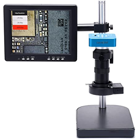 MYERZI Professional Industrial Digital 14MP HDMI VGA Microscope Camera+56 LED Ring Light+130X Adjustable Zoom C Mount Lens 22CM Work Distance Max Color : Red