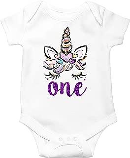 Unicorn 1st Birthday Outfit for Baby Girls First Birthday Bodysuit