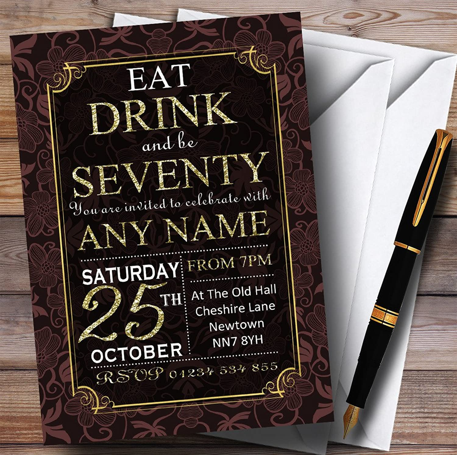 Brown & gold Flowers 70th Personalised Birthday Party Invitations