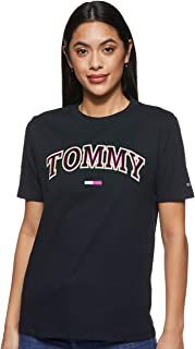 Tommy Hilfiger Women's TJW Neon Collegiate T-Shirt, Black