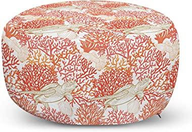 Ambesonne Underwater Ottoman Pouf, Sea World Pattern with Tortoiseshell Swimming Amongst Coral Reef, Decorative Soft Foot Res