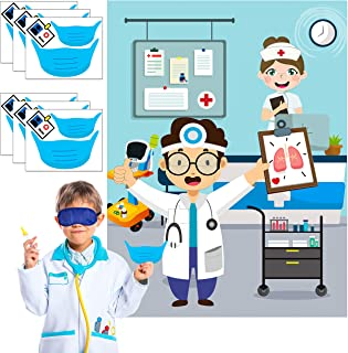 WATINC Pin The Mask On Doctor Poster Stichers Game with Blindfolds Dart Board Wall Decoration for Medical Nurse Theme Part...