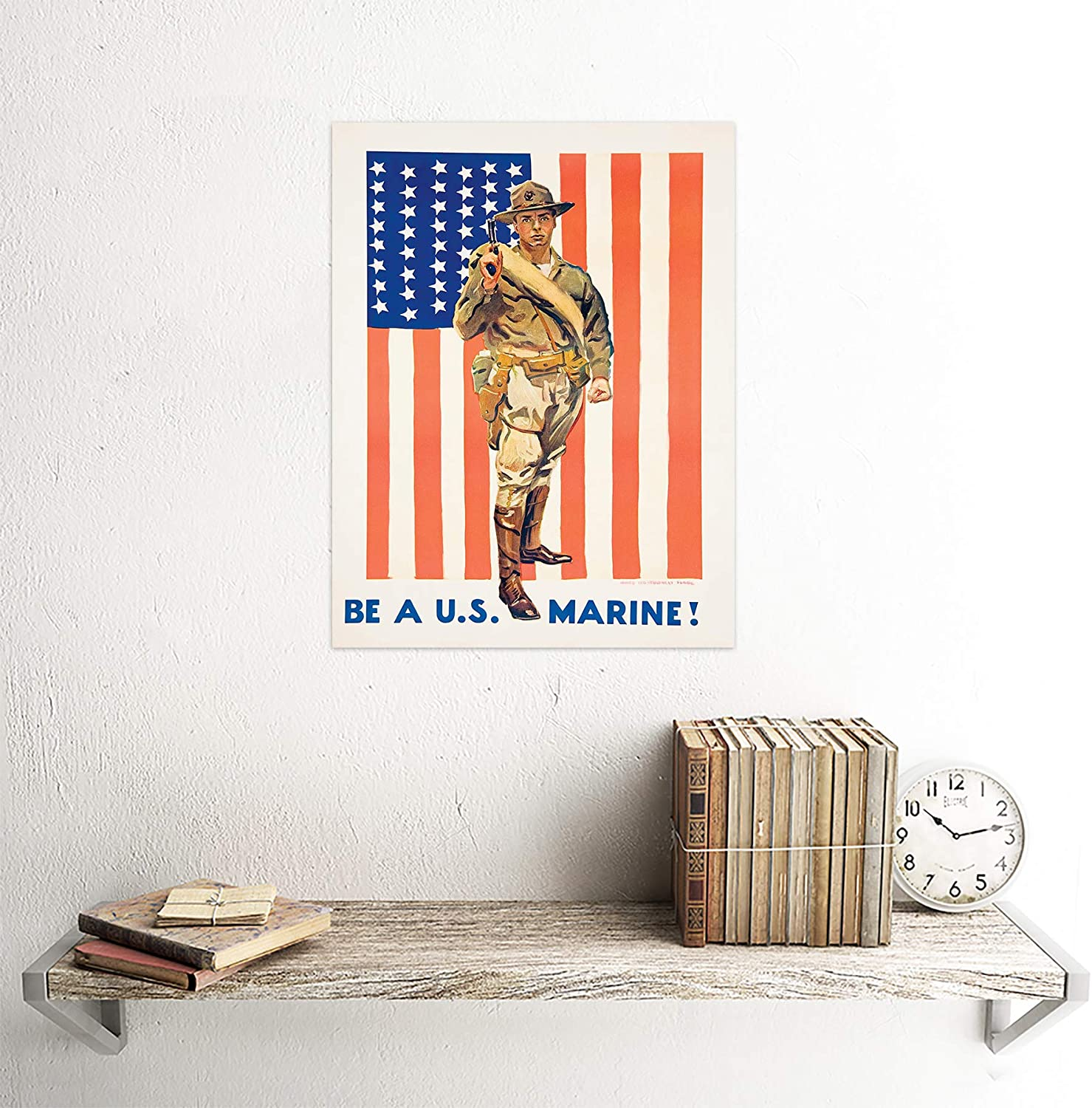 Wee Blue Coo Military Enlist Recruit Us Marine Corps Flag USA Unframed Wall Art Print Poster Home Decor Premium