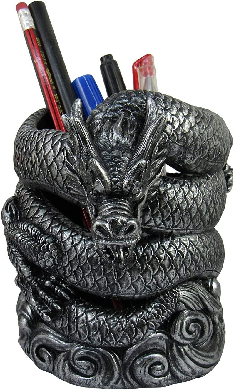 World of Wonders Pewter Chinese Dragon Desktop Pen Holder | Zen Decor for Your Home Office and Office Supplies | Dragon Desk Organizers | Desk Pen Holder Organizer - 5