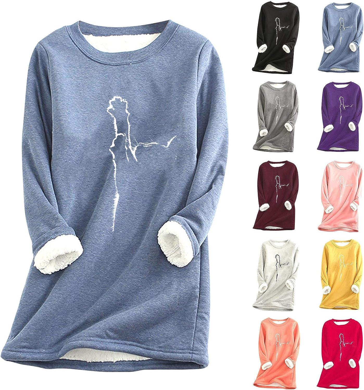 Onemopie Women Warm Thermal Underwear Tops Sherpa Lined Fleece Crewneck Sport Sweatshirt Pullover Loungewear
