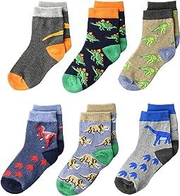 Dinosaur Pattern Crew Socks 6-Pack (Infant/Toddler/Little Kid/Big Kid)